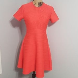 Sz 6 Dress Shoshanna Coral Stretch SS Fit & Flare